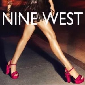 Nine West Carnation Velvet Red Platforms Sandals